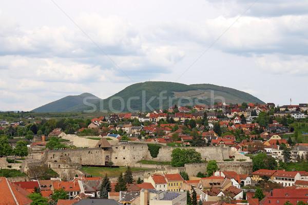 öreg erőd városkép Magyarország ház fa Stock fotó © goce