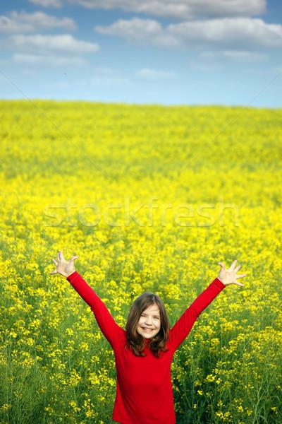 Nina las manos en alto amarillo campo primavera temporada Foto stock © goce