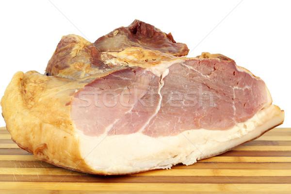 Finom füstölt sonka fehér étel piros Stock fotó © goce