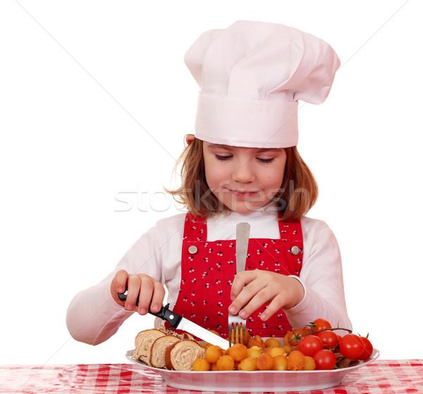 Aç küçük kız pişirmek yemek gurme gıda gıda Stok fotoğraf © goce