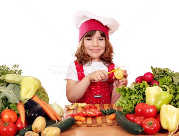 happy little girl cook peeling potatoes  Stock photo © goce
