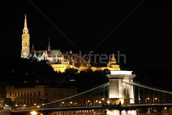 Stock photo: Fisherman towers and Chain bridge by night Budapest Hungary