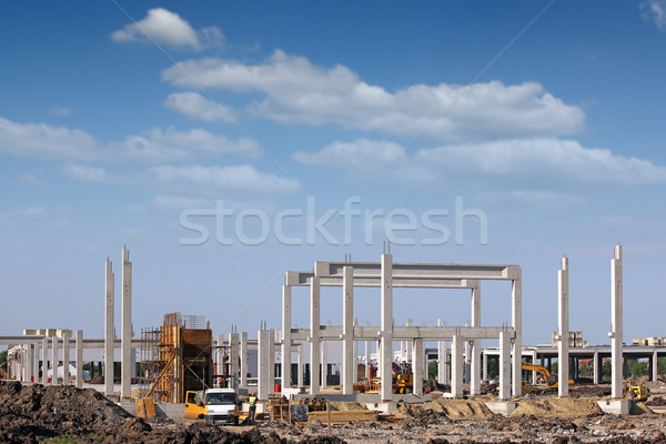 construction site with workers and machinery Stock photo © goce