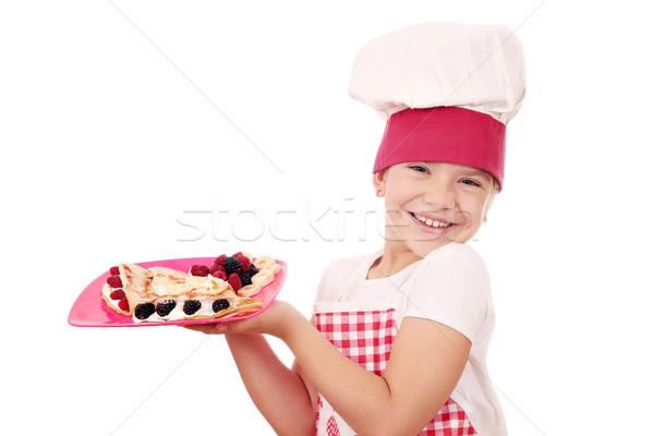 Boldog kislány szakács édes lány gyermek Stock fotó © goce
