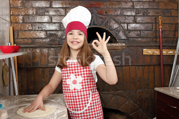 happy little girl cook in pizzeria Stock photo © goce