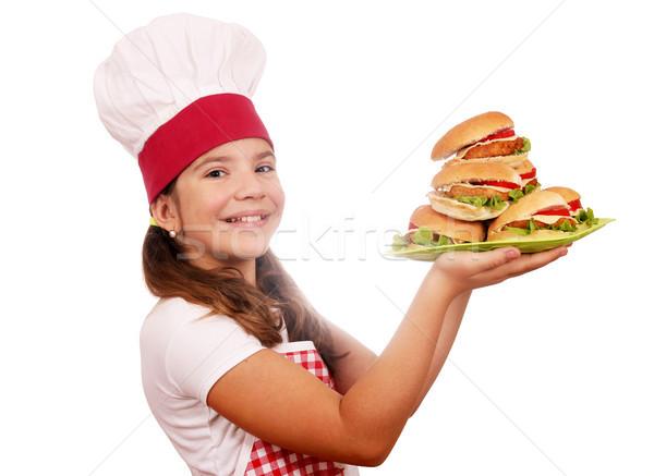 Szczęśliwy dziewczynka gotować tablicy dziewczyna Zdjęcia stock © goce