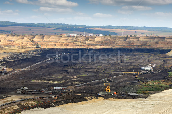 Ouvrir charbon mine lourd machines Serbie Photo stock © goce