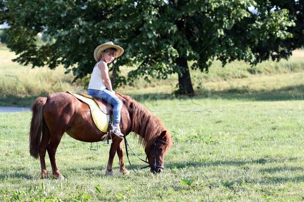 little girl riding pony horse  Stock photo © goce