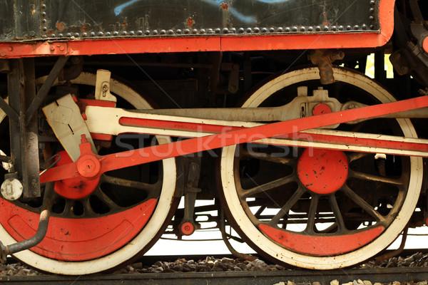 Stockfoto: Oude · stoomlocomotief · ijzer · wielen · technologie · metaal