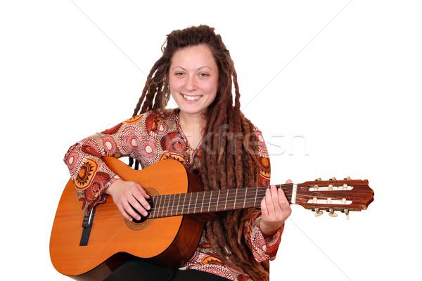 Gelukkig meisje spelen akoestische gitaar vrouw muziek gitaar Stockfoto © goce