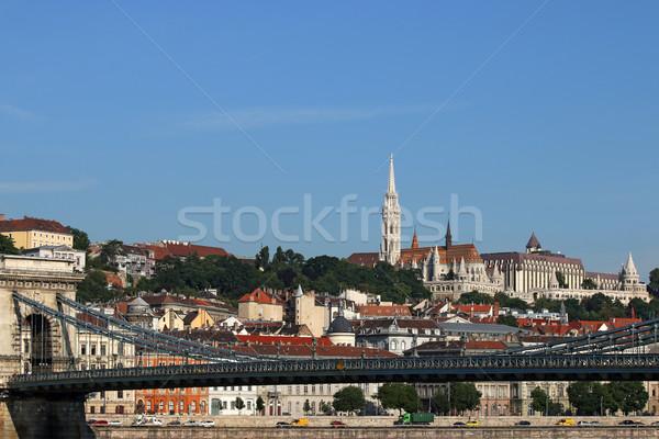 Lánc híd halász tornyok Budapest Magyarország Stock fotó © goce