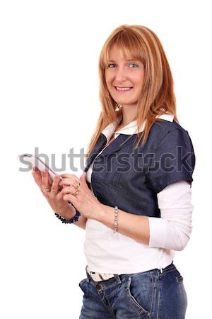 Stock photo: beautiful girl with tablet pc