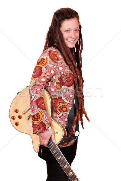 happy girl with dreadlocks and electric guitar posing Stock photo © goce