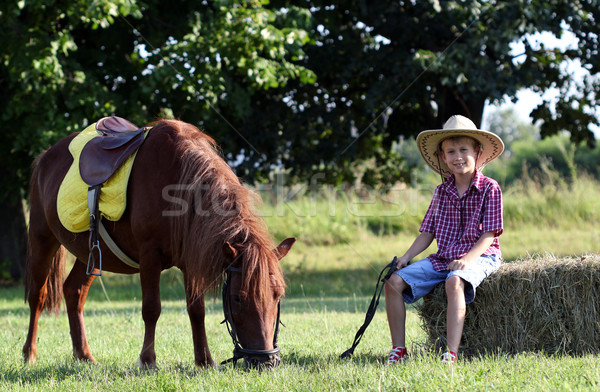 Garçon chapeau de cowboy poney cheval ferme enfant Photo stock © goce