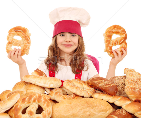 happy little girl cook with pretzels Stock photo © goce