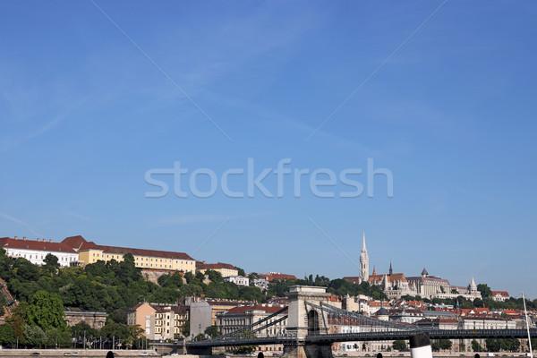 Chain bridge and Fisherman towers Budapest cityscape Stock photo © goce