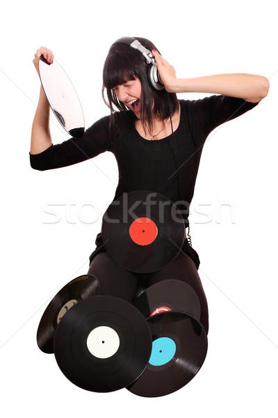 Meisje houden lp record luisteren muziek Stockfoto © goce