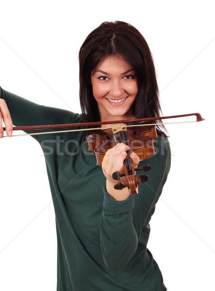 Stock fotó: Gyönyörű · lány · játék · hegedű · mosoly · szépség · jókedv