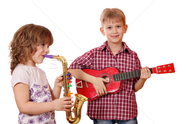 little girl and boy play music Stock photo © goce