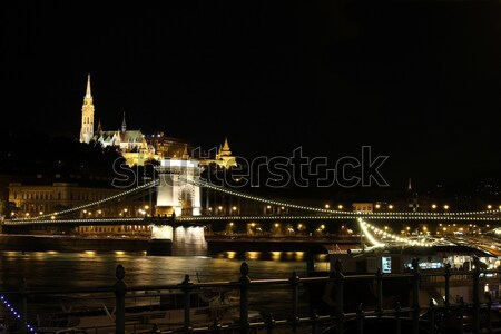 Fishermans Bastion and chain bridge Budapest by night  Stock photo © goce
