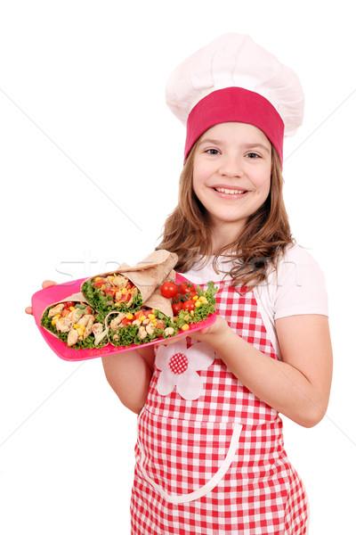 Stok fotoğraf: Mutlu · küçük · kız · pişirmek · plaka · kız · çocuk