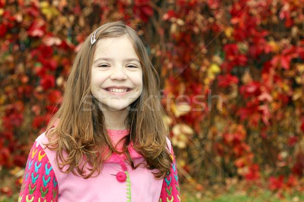 Boldog kislány ősz park portré mosoly Stock fotó © goce