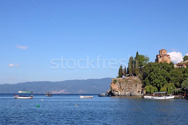Сток-фото: Церкви · озеро · Македонии · небе · природы · пейзаж