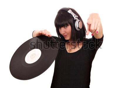 Mooi meisje scratch lp muziek meisje zwarte Stockfoto © goce