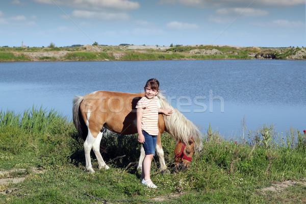 女の子 ポニー 馬 水 少女 フィールド ストックフォト © goce