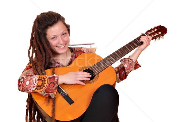 Boldog lány játék akusztikus gitár nő zene nők Stock fotó © goce