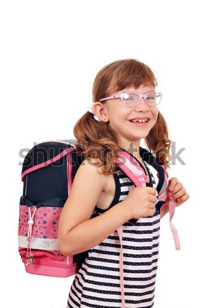happy little girl with schoolbag Stock photo © goce
