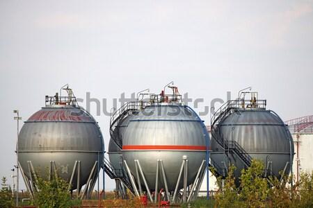 Stockfoto: Drie · olie · veld · Blauw · industriële · gas