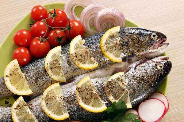 Przygotowany pstrąg ryb cytryny warzyw obiedzie Zdjęcia stock © goce