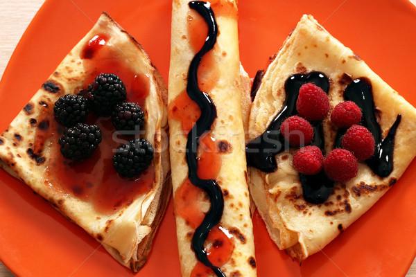 Gyümölcs csokoládé étel torta vacsora tányér Stock fotó © goce