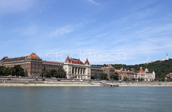 Danube riverside with Gellert hill Budapest Stock photo © goce