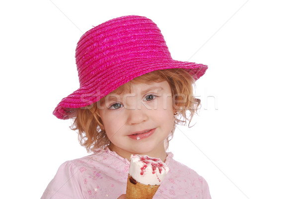little girl with hat and ice cream Stock photo © goce