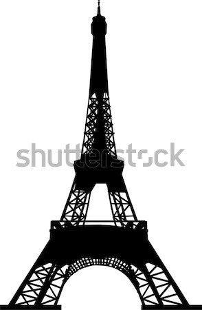 Stock photo: silhouette of eiffel tower