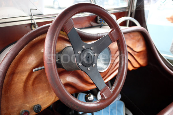 Wooden dashboard and steering wheel oldtimer car Stock photo © goce