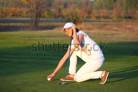 Stock fotó: Gyönyörű · lány · golfozó · mező · nő · golf · zöld