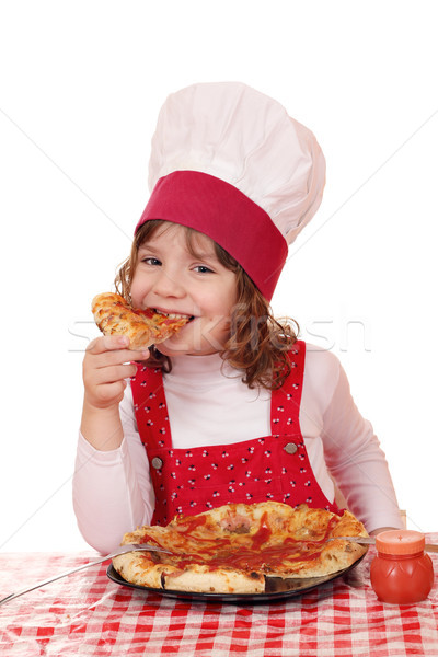 hungry little girl cook eat pizza Stock photo © goce