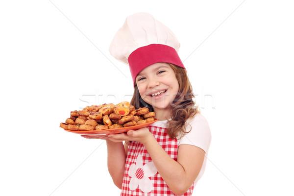 Boldog kislány szakács tart edény bruschetta Stock fotó © goce