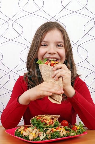 голодный девочку есть продовольствие ребенка обеда Сток-фото © goce