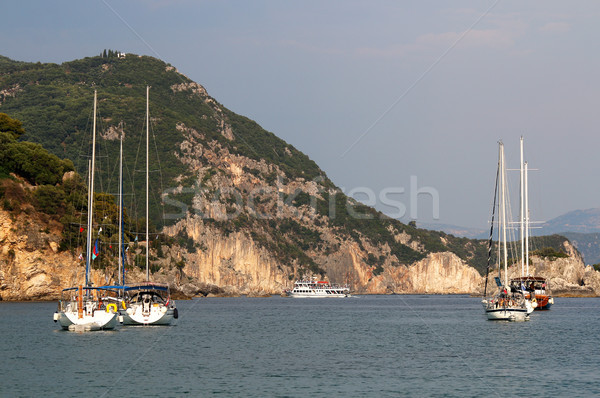 yacht and sailboat on Ionian sea Parga Greece Stock photo © goce