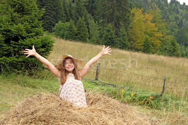 Mooie meisje handen omhoog natuur zomer seizoen Stockfoto © goce