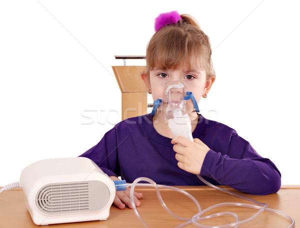 little girl taking inhaled Stock photo © goce