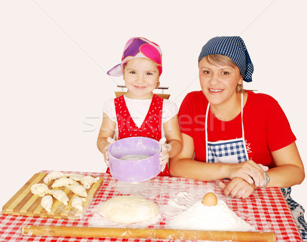 mother and daughter make rolls with flour Stock photo © goce