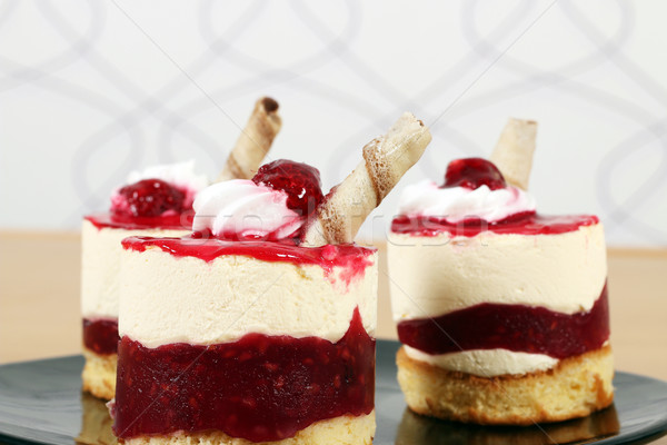 three sweet raspberry cake dessert Stock photo © goce