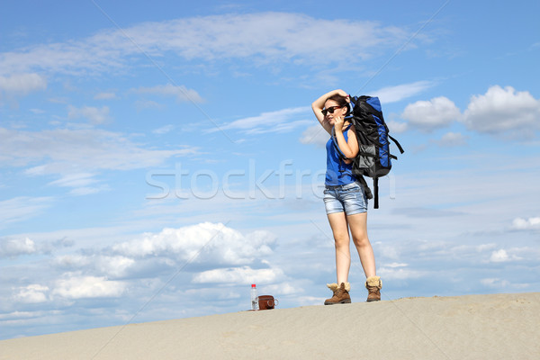 girl hiker with a backpack in the desert  Stock photo © goce