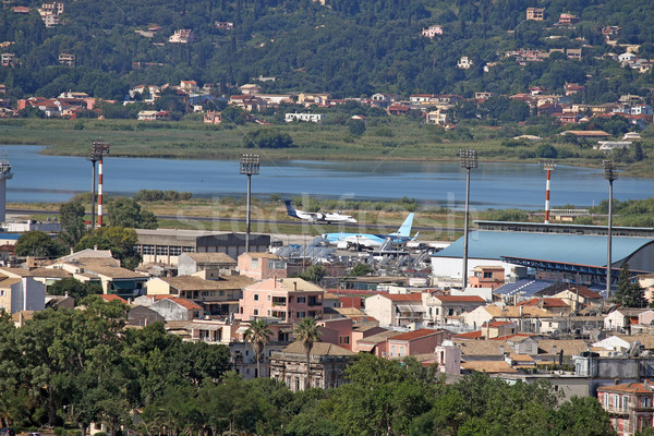airplanes on airport Corfu town Greece Stock photo © goce
