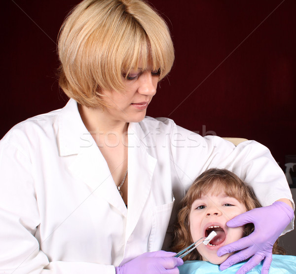 Stock photo: female dentist and little girl patient